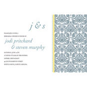 Decorative Damask Yellow Custom Invitation