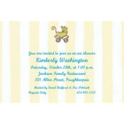 Tiny Carriage on Stripe Custom Baby Shower Invitation