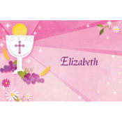 Custom Pink First Communion Thank You Note