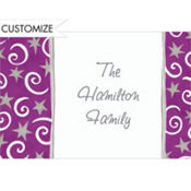 Stars and Swirls Purple Custom Thank You Note