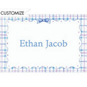 Plaid with Ribbon Blue Custom Baby Shower Thank You Note