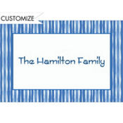 Cornflower Blue Wavy Stripe Custom Thank You Note