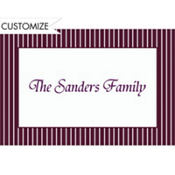 Aubergine Narrow Pinstripe Custom Thank You Note