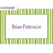 Key Lime Chalk Stripe Custom Thank You Note