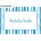 Bikini Blue Water Stripe Custom Thank You Note