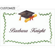 Black Mortarboard & Ivy Custom Thank You Notes