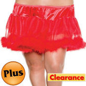 Adult Red Marabou Petticoat Plus Size