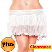 Adult White PomPom Petticoat Plus Size