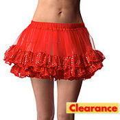 Adult Red Sequin Trim Petticoat