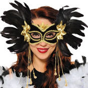 Black & Gold Fantasy Venetian Feather Mardi Gras Mask