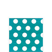 Ice Blue Big Dots Beverage Napkins 20ct