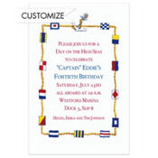 Nautical Flags Border Custom Invitation