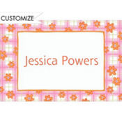Pink Plaid with Daisies Custom Baby Shower Thank You Note