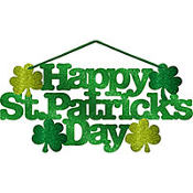 St. Patricks Day Glitter Large Message Sign 13in x 6in