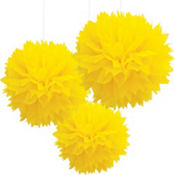 Yellow Fluffy Decoration 16in 3ct