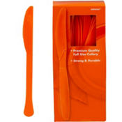 Orange Premium Plastic Knives 100ct