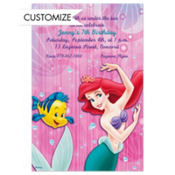 Little Mermaid and Flounder Custom Invitation