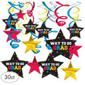 Colorful Graduation Swirl Decorations 30ct