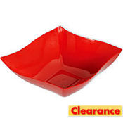 Red Wavy Square Premium Plastic Bowl 12 1/2in