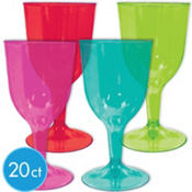 Fiesta Plastic Wine Glasses 8oz 20ct