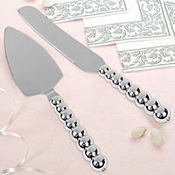 Silver Beaded Wedding Cake Server Set