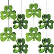 Foil 3D Shamrock Hanging Decorations 8ct