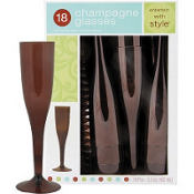 Chocolate Brown Premium Plastic Champagne Flutes 18ct