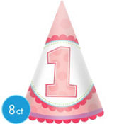 Girl 1st Birthday Party Hats 8ct