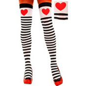 Adult Red Heart Striped Thigh High Stockings