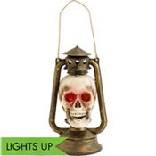 Light-Up Skull Lantern 10in