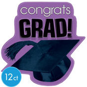 Purple Congrats Grad Graduation Cutouts 10 1/2in 12ct