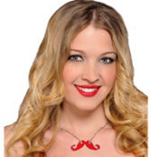 Red Moustache Necklace 18in