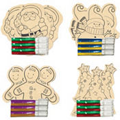 Wood Ornament Decorating Activity Kit 12ct