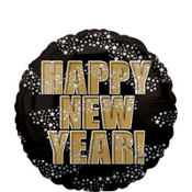 Foil Black and Gold Happy New Years Balloon 18in