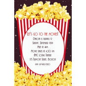 Movie Night Popcorn Custom Invitation