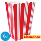 Red Striped Popcorn Boxes 8ct