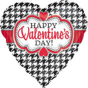 Foil Houndstooth Valentines Day Balloon 18in
