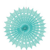 Robin's Egg Blue Paper Fan Decoration 16in
