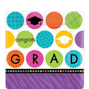 Colorful Commencement Square Dessert Plates 18ct