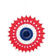 Patriotic Paper Fan Decoration 16in