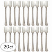 Mini Silver Finish Plastic Forks 20ct