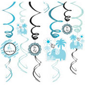 Blue Safari Baby Shower Swirl Decorations 12ct