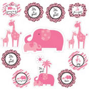 Pink Safari Baby Shower Cutouts 12ct