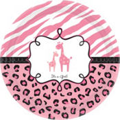 Pink Safari Baby Shower Dinner Plates 18ct