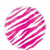 Foil Pink Zebra Balloon 18in