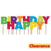 Multicolor Rainbow Happy Birthday Toothpick Candles 13ct