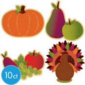 Glitter Harvest Turkey Cutouts 10ct