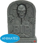 Animated Skull Halloween Tombstone Decoration 15 1/2in
