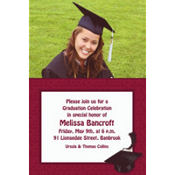 Burgundy Congrats Grad Custom Photo Invitation