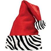 Santa Hat with Zebra Cuff